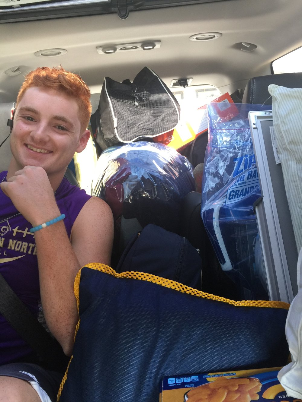 Christine's son and the packed car en route to college. Clearly, he has everything he could possibly need along with anything his dorm mates might need!
