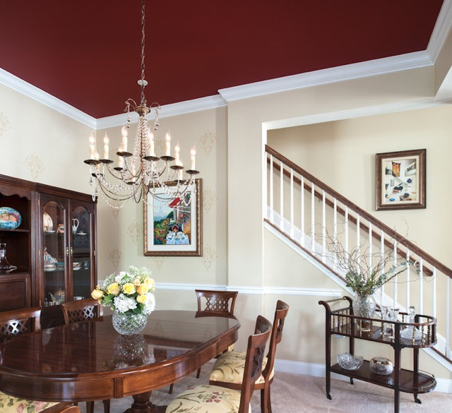 We used red a few years ago on a dining room ceiling. By Ella Design Group