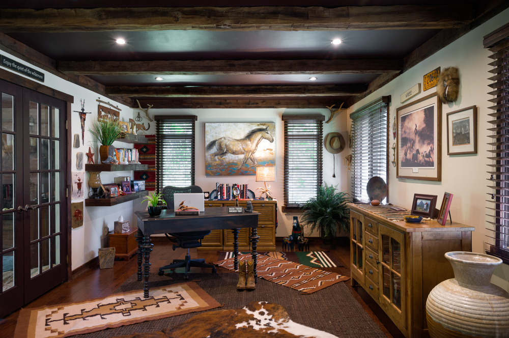 By Ella Design Group. This eclectic home office we created has a global nomad vibe and a few pops of Cavern Clay (terra cotta can work; just not splashed across every wall).