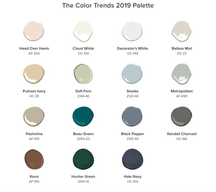 Benjamin Moore 2019 Color Trends