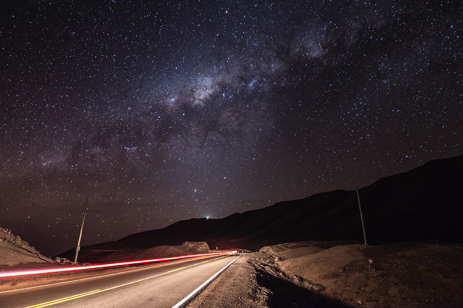 Being on the road after dark is not always a bad thing… the Milky Way on the way to Tacna, Peru.