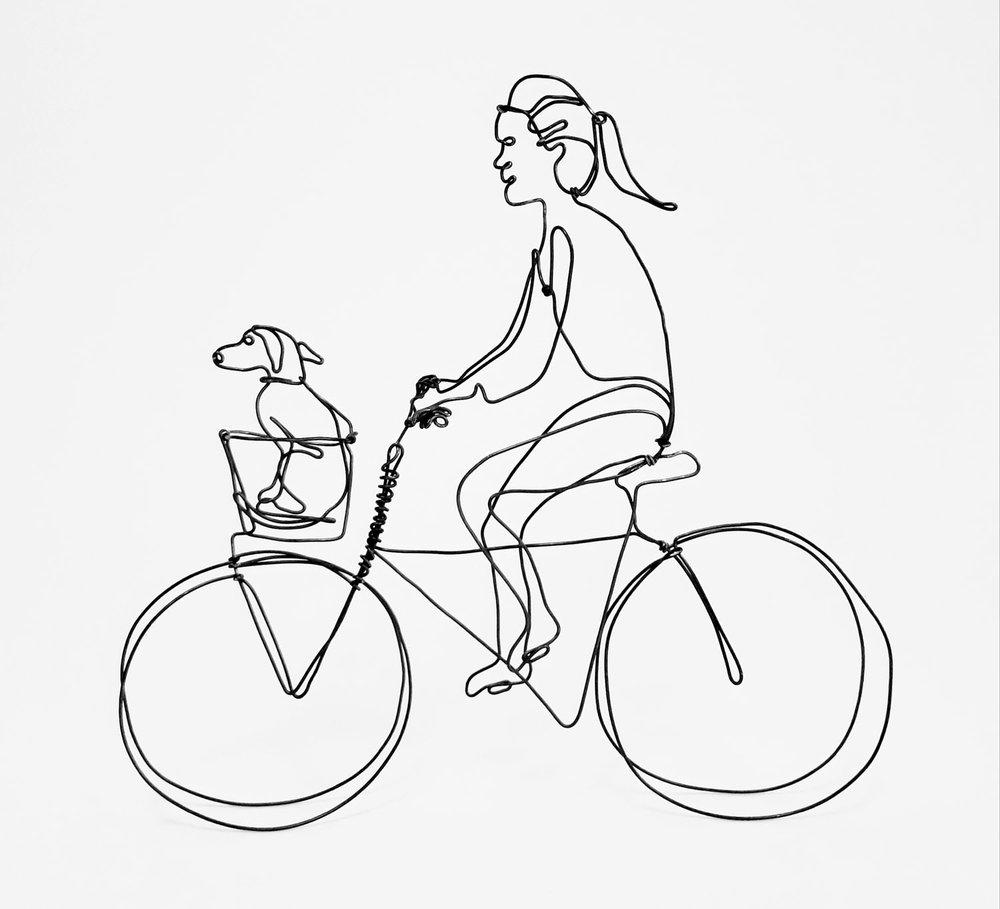 Biker With Dog Wire Sculpture