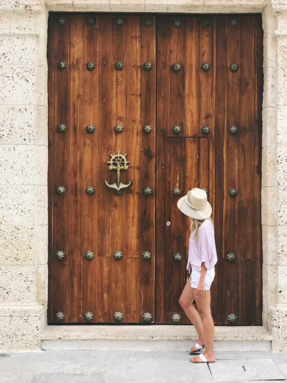 WOOD MEETS METAL |  JUST ABOUT EVERY WOODEN DOOR WAS ADORNED WITH BEAUTIFUL BRASS AND IRON METALWORK. TOP:    Rails  ,  SHORTS:    Frame  ,  SHOES:    Joie