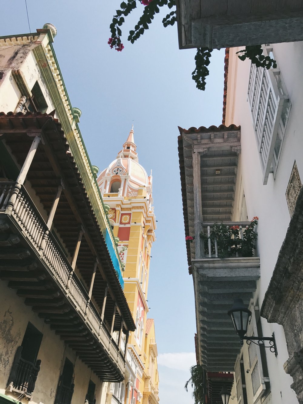 16th C. WALLED CITY |  Wood balconies with bursts of cascading bougainvillea are one of the most dazzling features of the colorful Spanish Colonial buildings