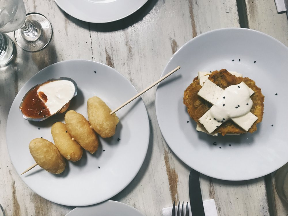 COLOMBIAN CUISINE | Buñuelos (left) & Tostones (right) at MILA VARGAS.
