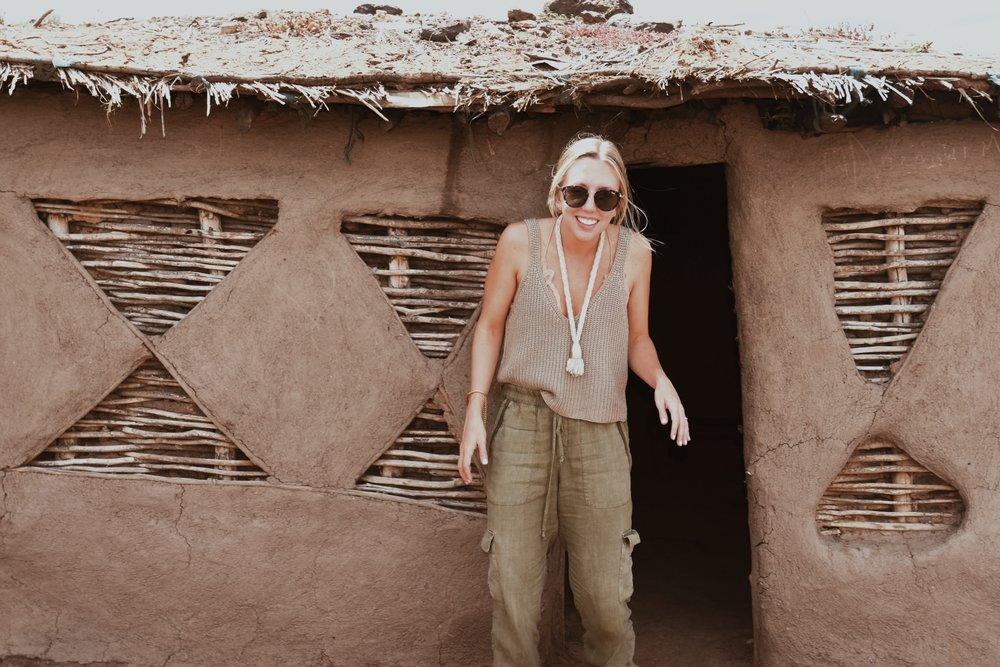 Visiting a Maasai village.