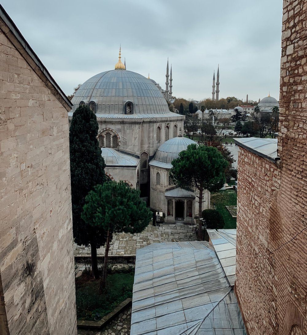Views from Hagia Sophia include The Blue Mosque's iconic minarets in the distance.