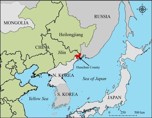 Hunchun, China, bordering Russia and North Korea.