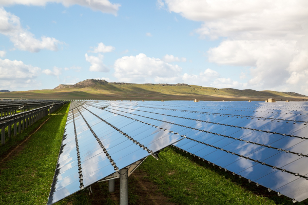 The completed solar array covering 3,500 acres