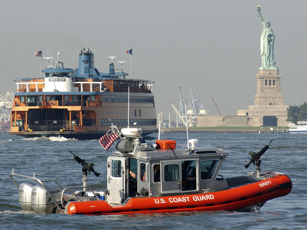 US Coast Guard Defender-class vessel providing security in NY Harbor