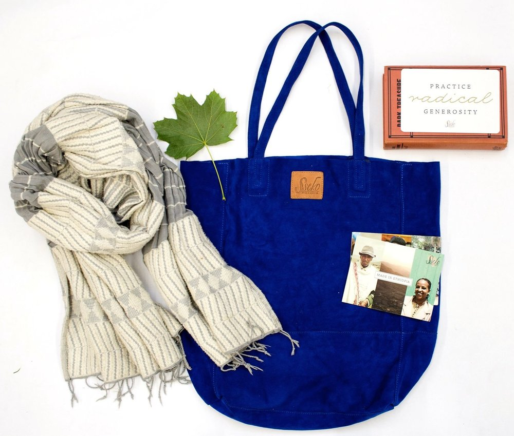 Sseko Designs Blue Leather Bag and Scarf