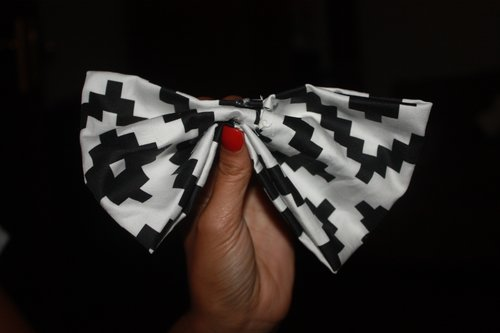No sew diy bow tie paw ty girls now turn the small piece upside down and fold each half to meet the opposite side apply a thin layer of glue ccuart Choice Image