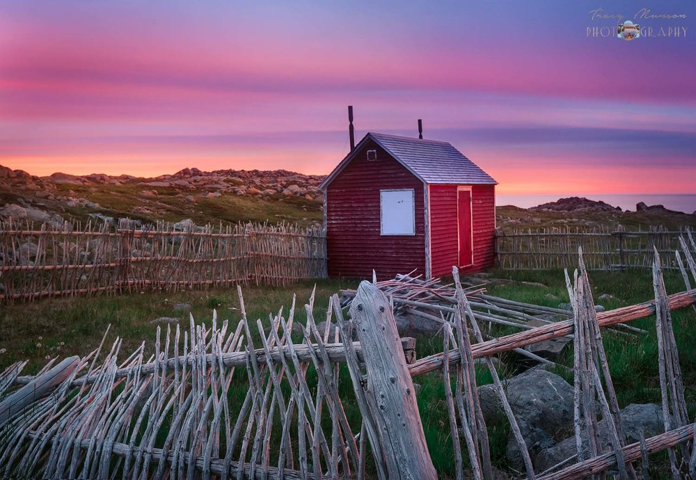 A photo of a sunset behind a derelict wooden fence and shed in Bonavista, Newfoundland, by Canadian Nature Photographer, Tracy Munson.