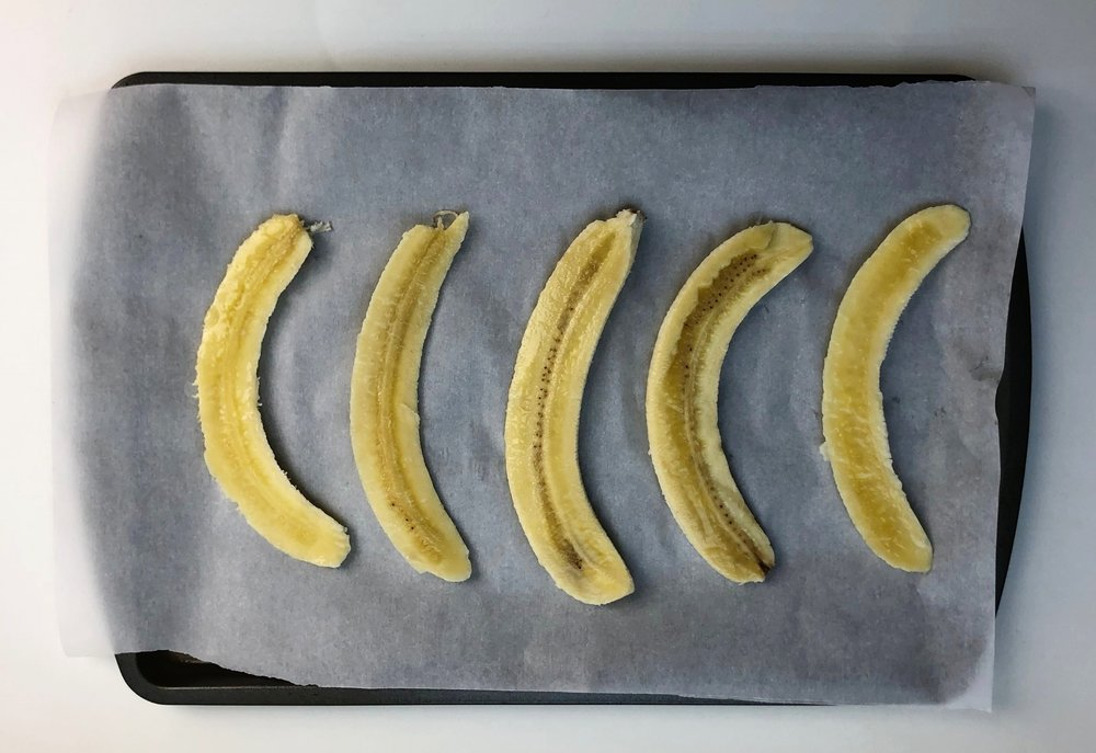 The bananas, sliced and ready to go into the oven.