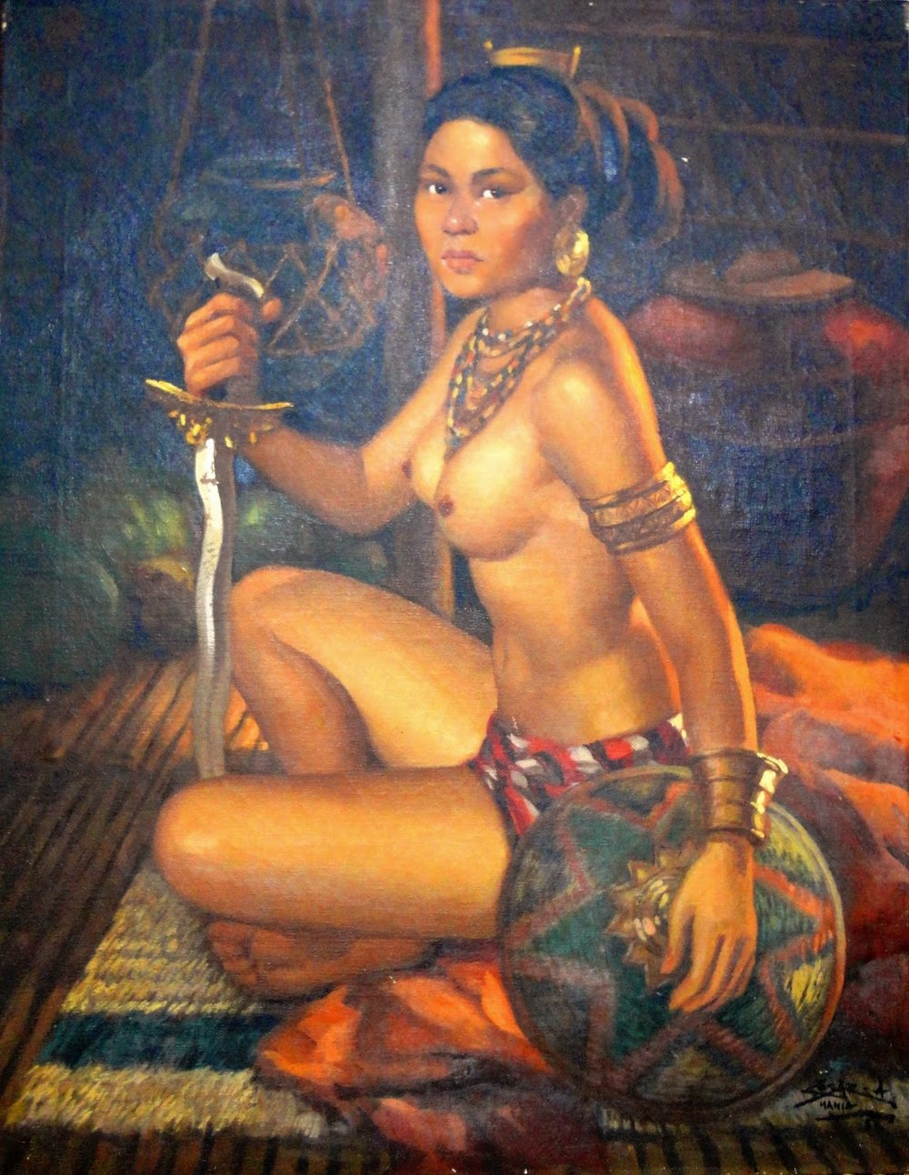 Oil painting of a native warrior princess by Cesar Amorsolo, 1956
