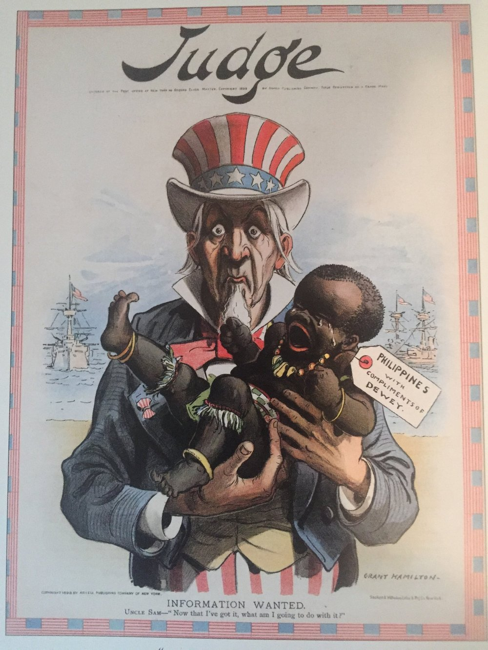 """INFORMATION WANTED: Uncle Sam - 'Now that I've got it, what am I going to do with it?'"" / Illustration by Grant Hamilton, Judge, June 11,1898"