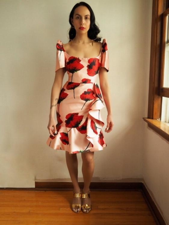 Couture ruffle terno, $400