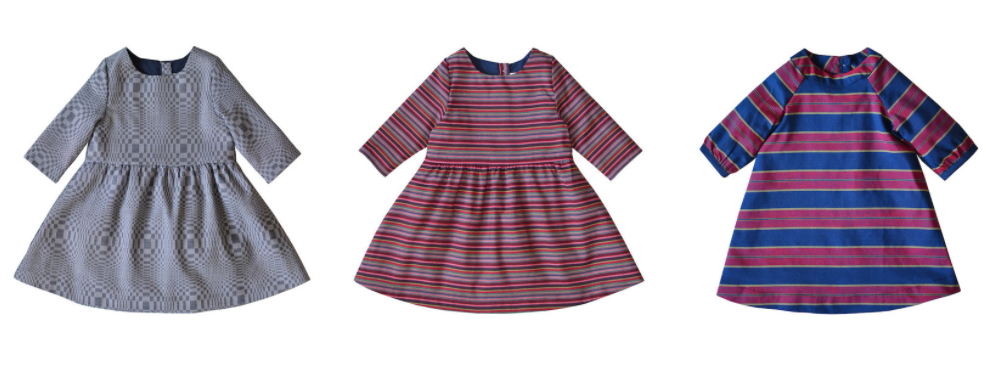 From left to right: Salud Dress in Navy and Multi Stripe, Juliana Dress in Violet ($85 each)