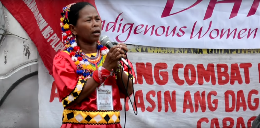 """Bai Jocelyn, a Lumad leader, speaks out against land and human rights violations in the Philippines."" Source:  World Pulse"