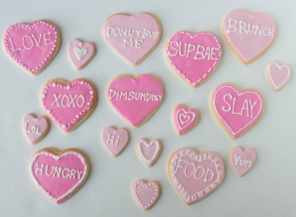 Conversation Heart Sugar Cookies For Valentines Day Dim Sum Diet