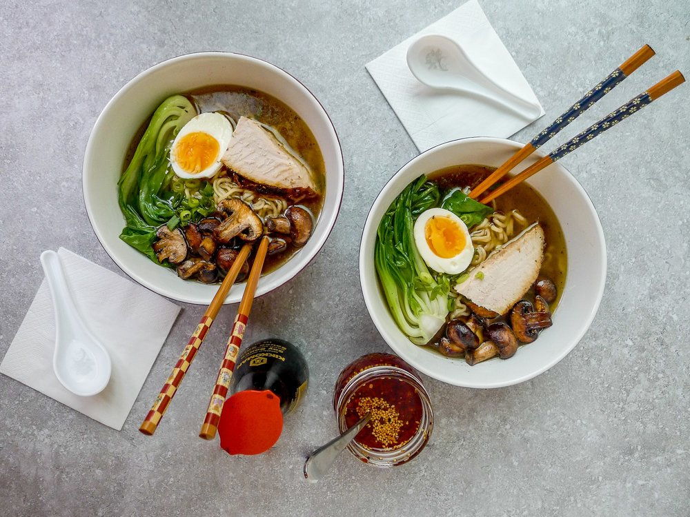 TURKEY RAMEN WITH BOK CHOY, MUSHROOMS AND HOMEMADE CHILLI OIL