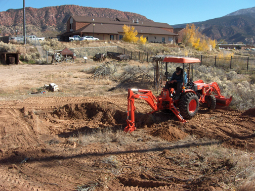 Beginning the excavation for the replica Fremont pithouse.