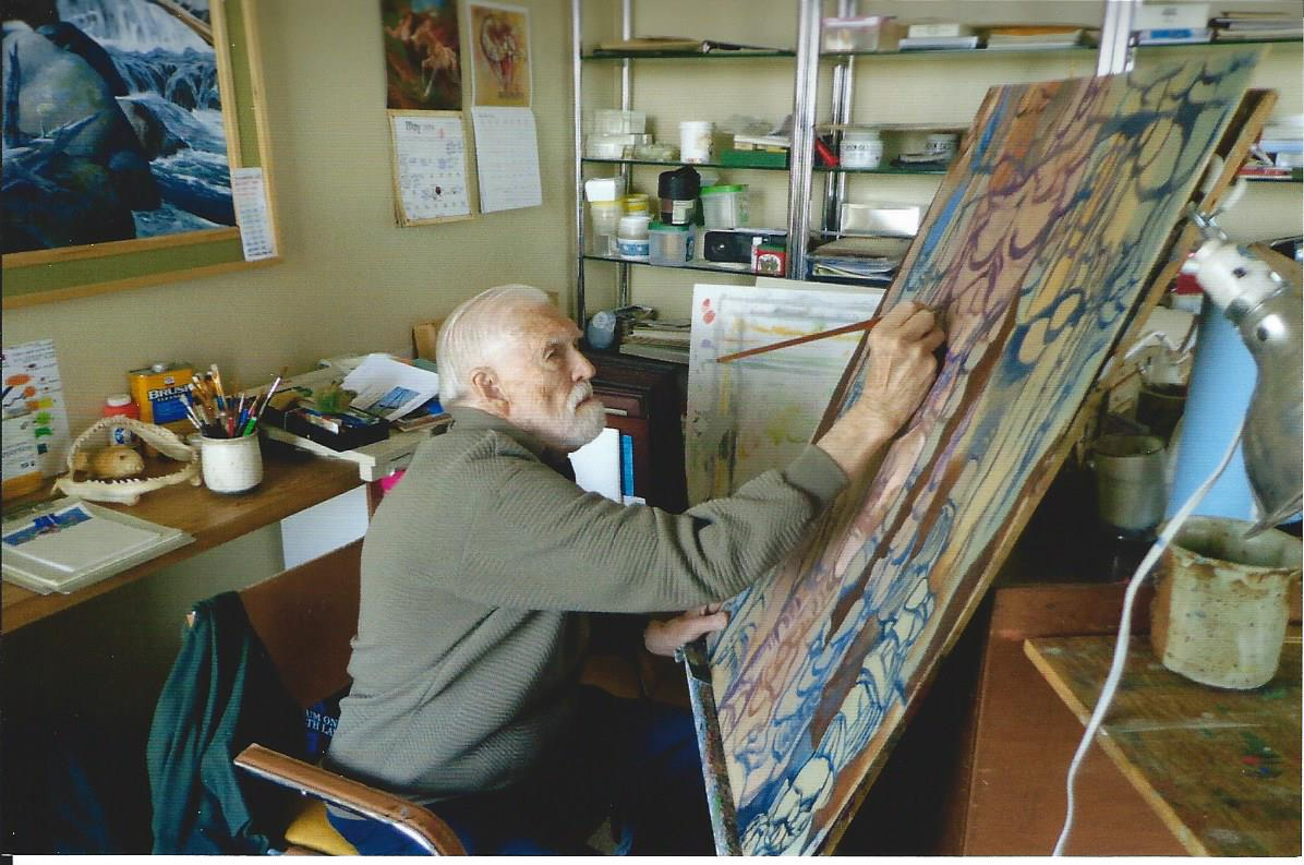 Clayton Rippey at work in his studio.