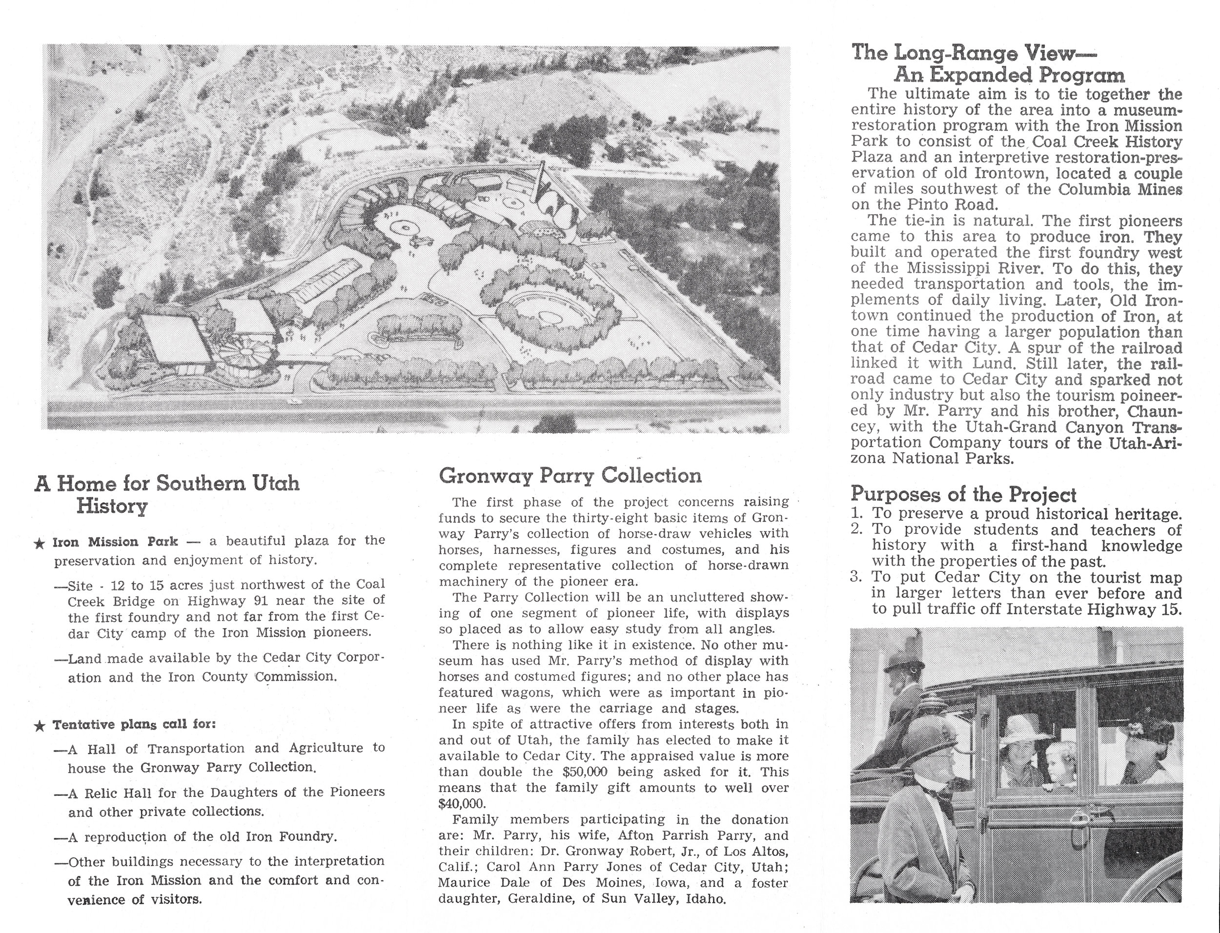 An early brochure promoting support for the park.