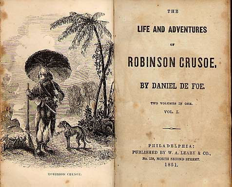Title page of the 1851 Robinson Crusoe.