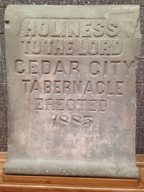 The Tabernacle stone which sat on the west exterior wall and now resides in the Cedar City Daughters of the Utah Pioneers Museum