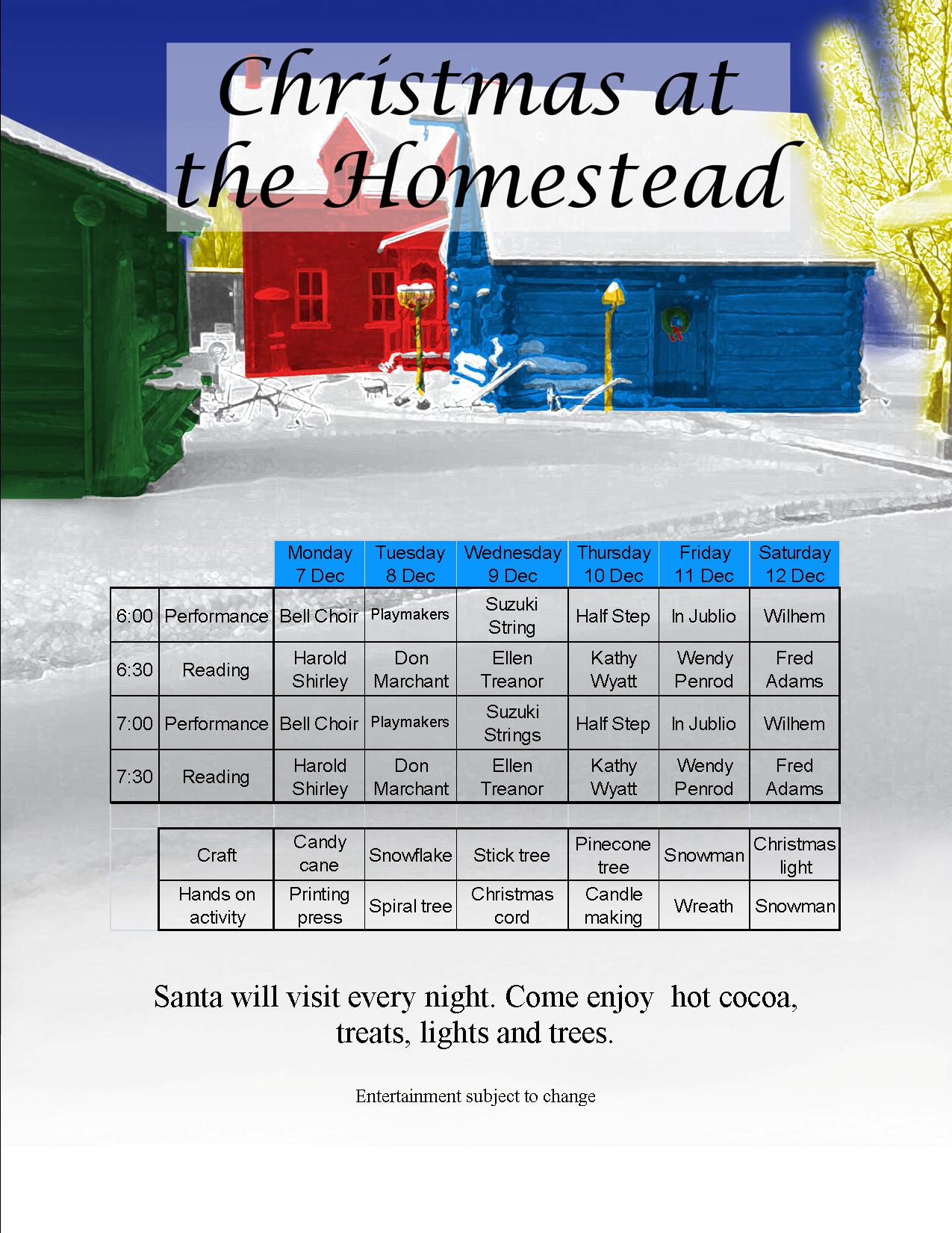 2015 Christmas at the Homestead Schedule