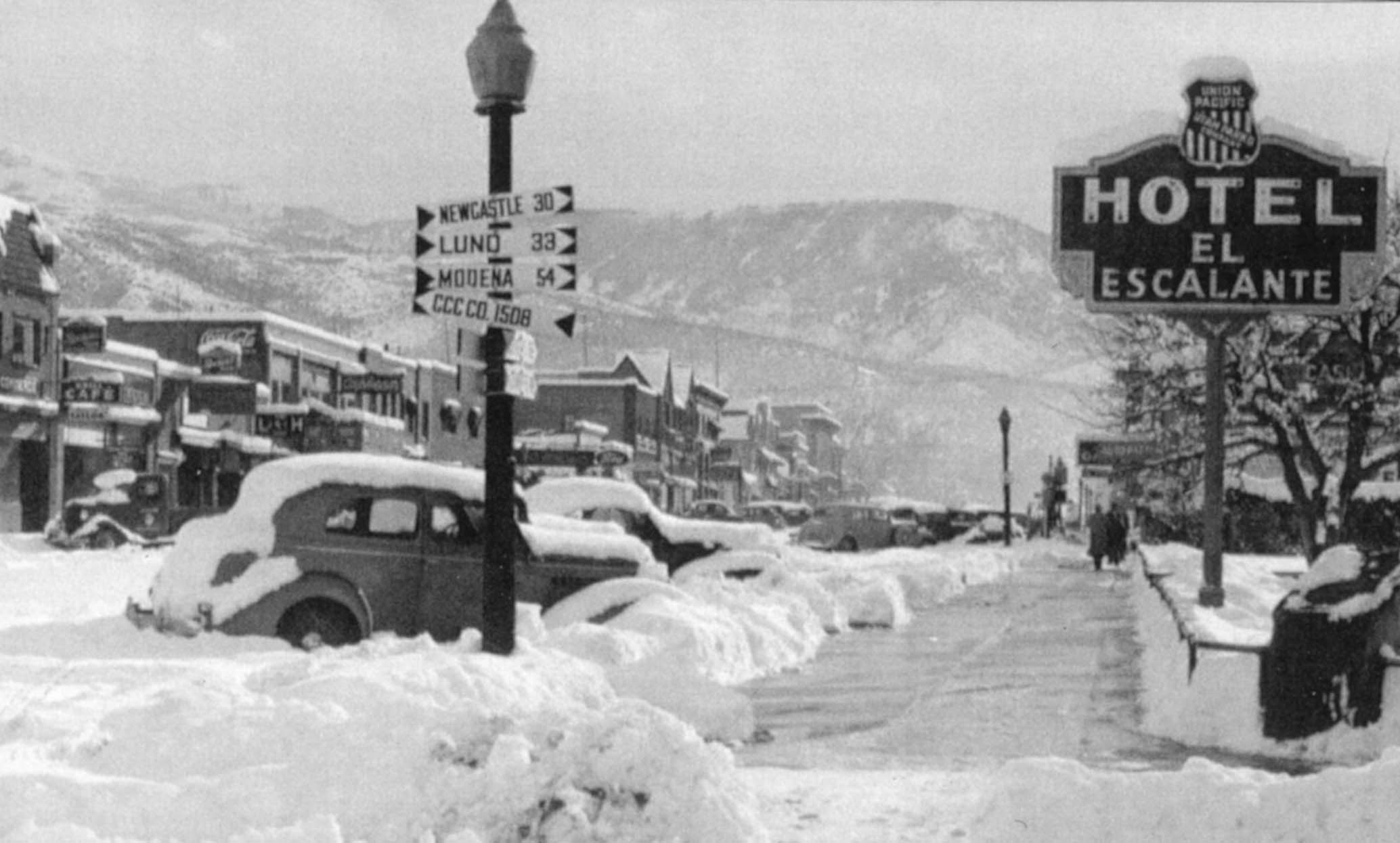 Best for Last. A Main Street winter scene circa 1935.This photo is looking south from the corner of Main and 200 North.