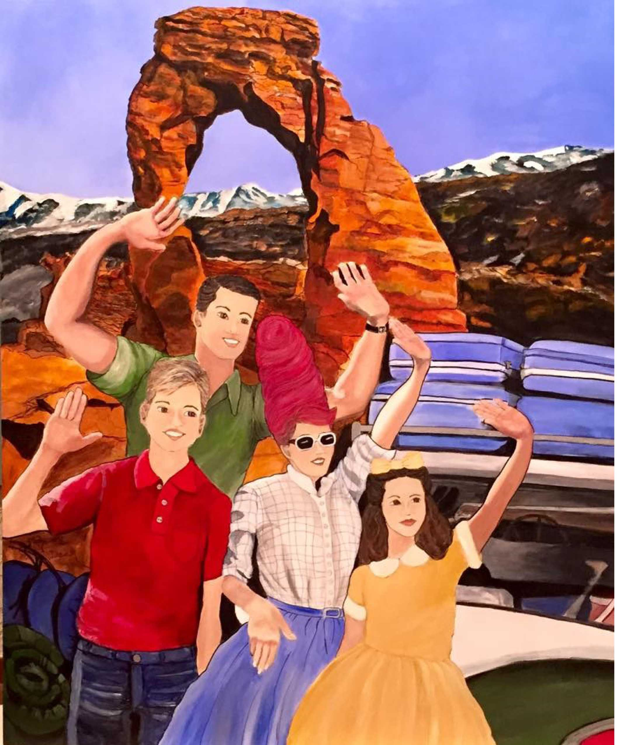 """Family Vacation"" 2015 Mixed Media on Panel Stephanie Deer"