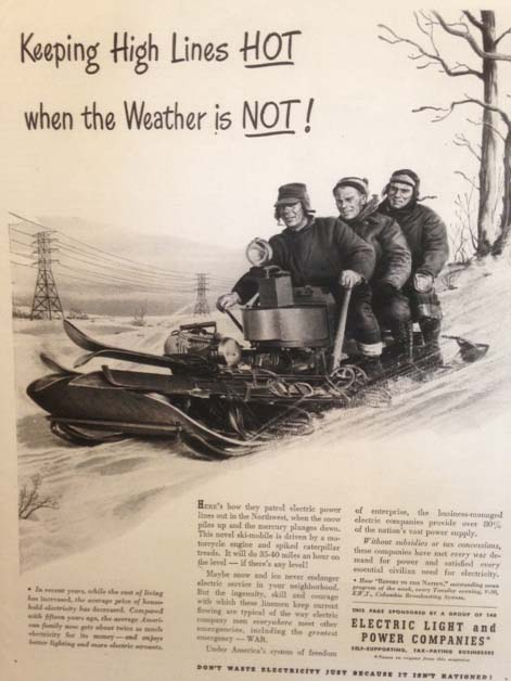 A  public service message featuring the Eliason Snow Machine. Life Magazine, 1944.