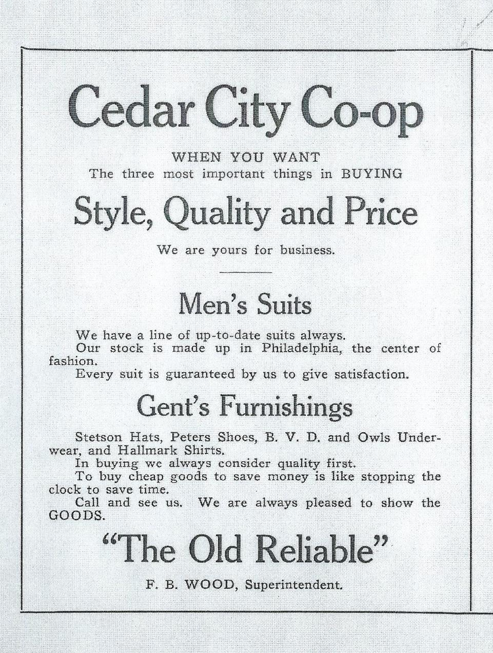 1915 Cedar City Co-op ad.