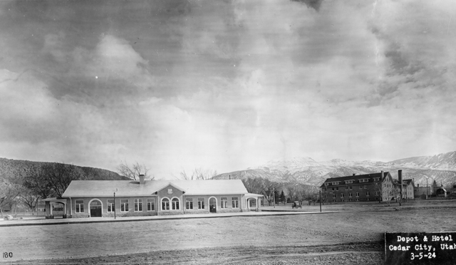 An early image of the hotel and depot.
