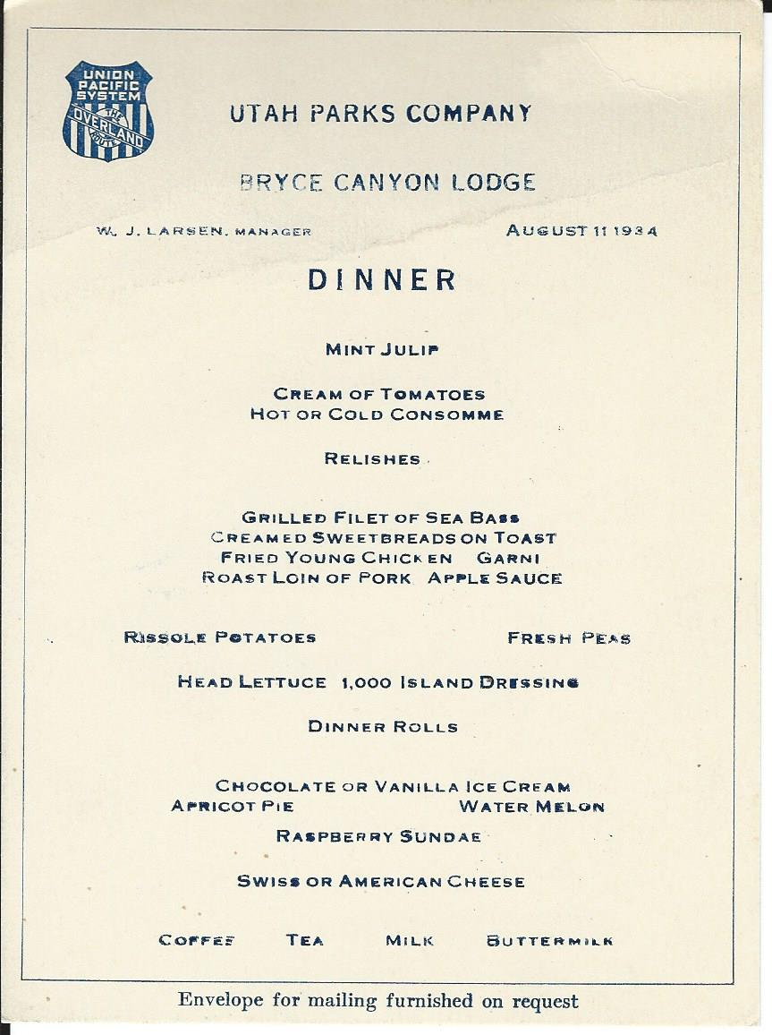 Menu from the Bryce Canyon Lodge - August 11, 1934