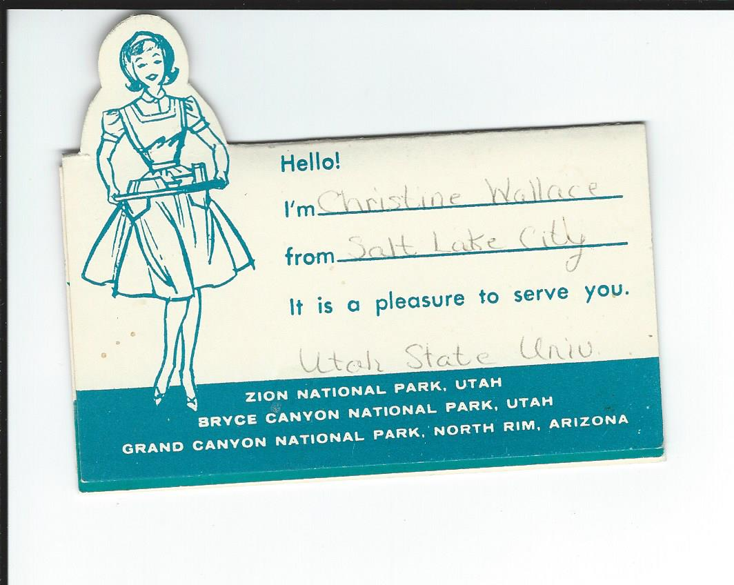 UPC waitresses were expected to place cards on the table with information including where they went to school.
