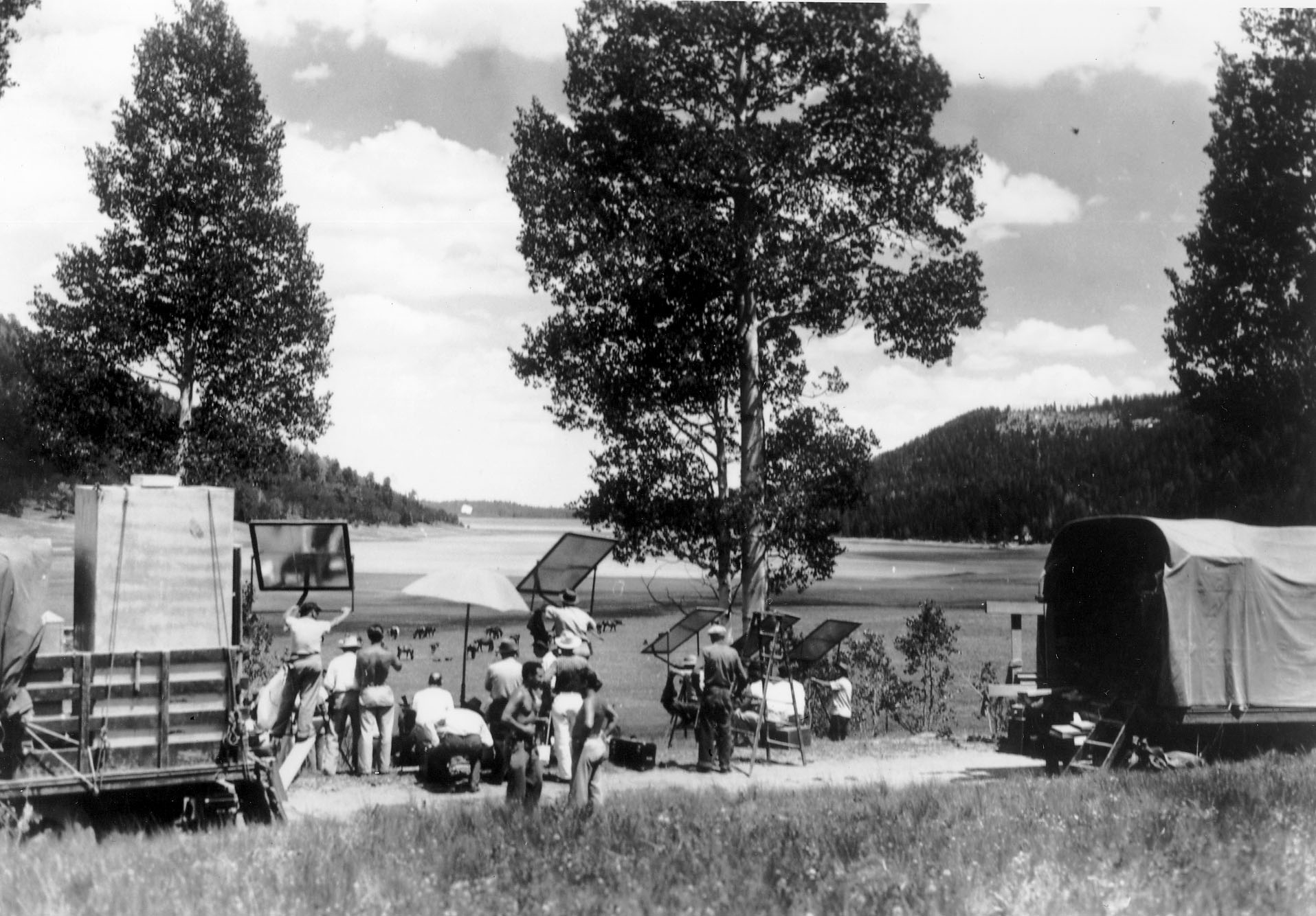 Filming on Cedar Mountain, 1930's.