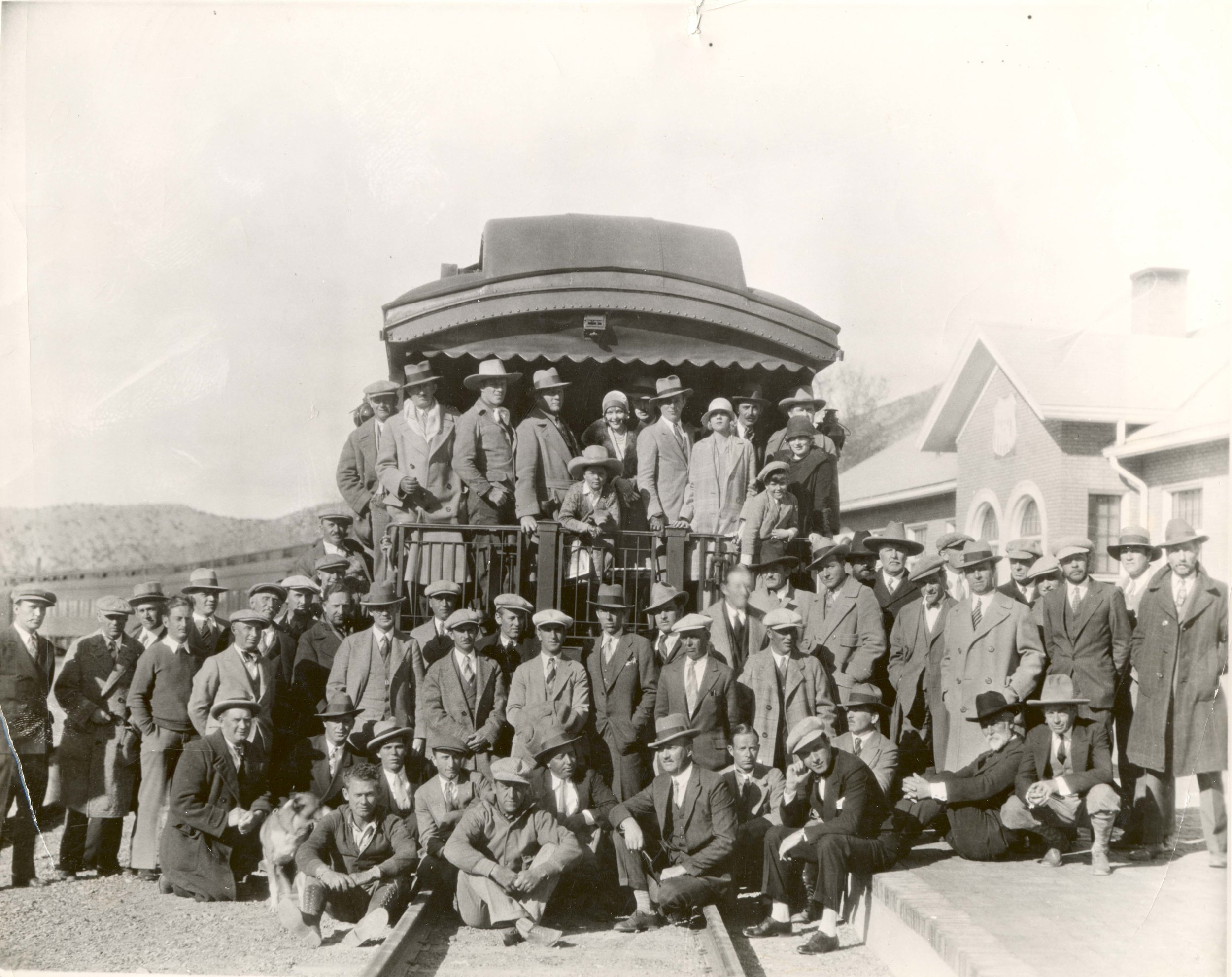 "Cast of ""Forlorn River"" leaving Cedar City, 1926"