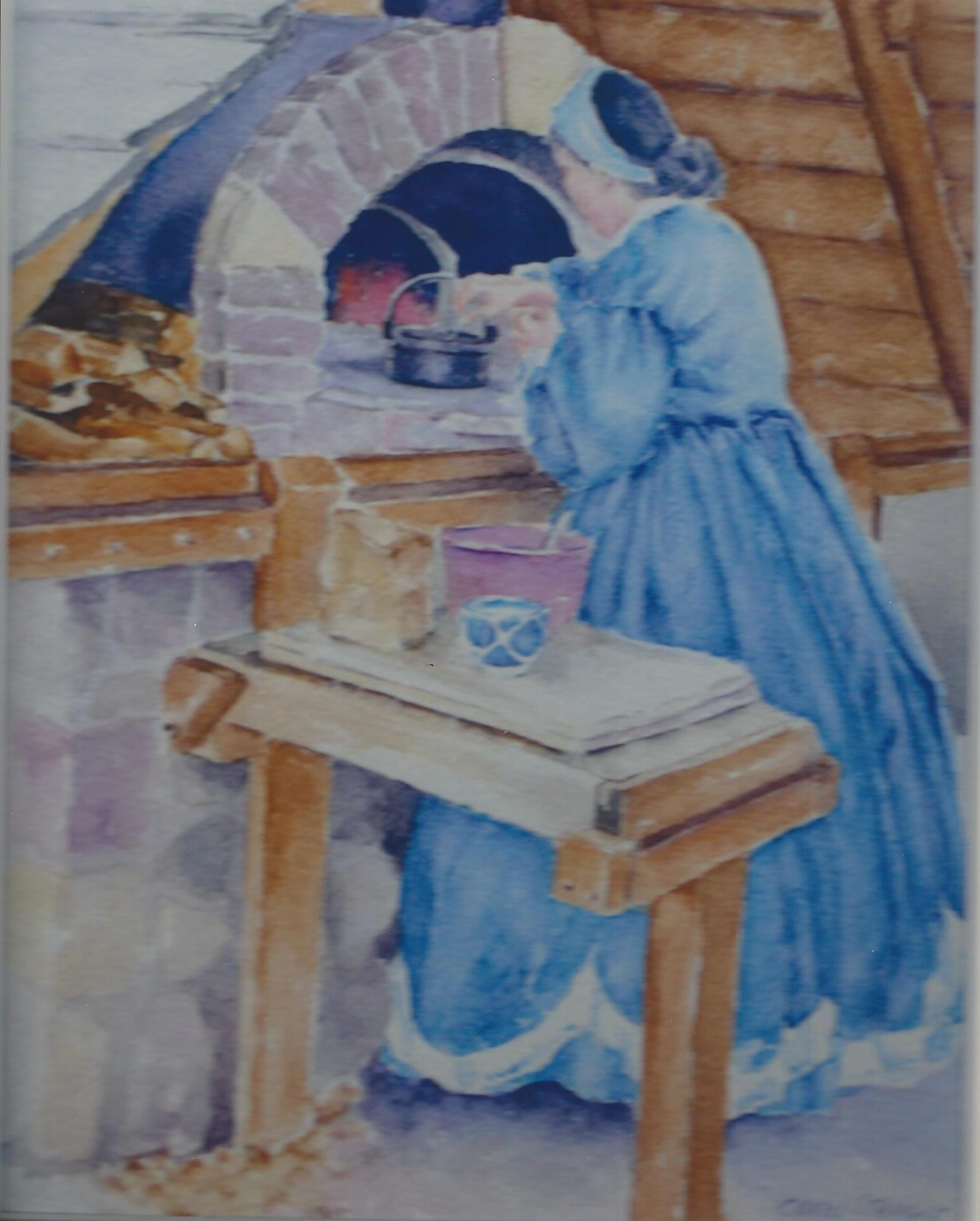 Biscuits in the Oven  Carol Stenger - watercolor
