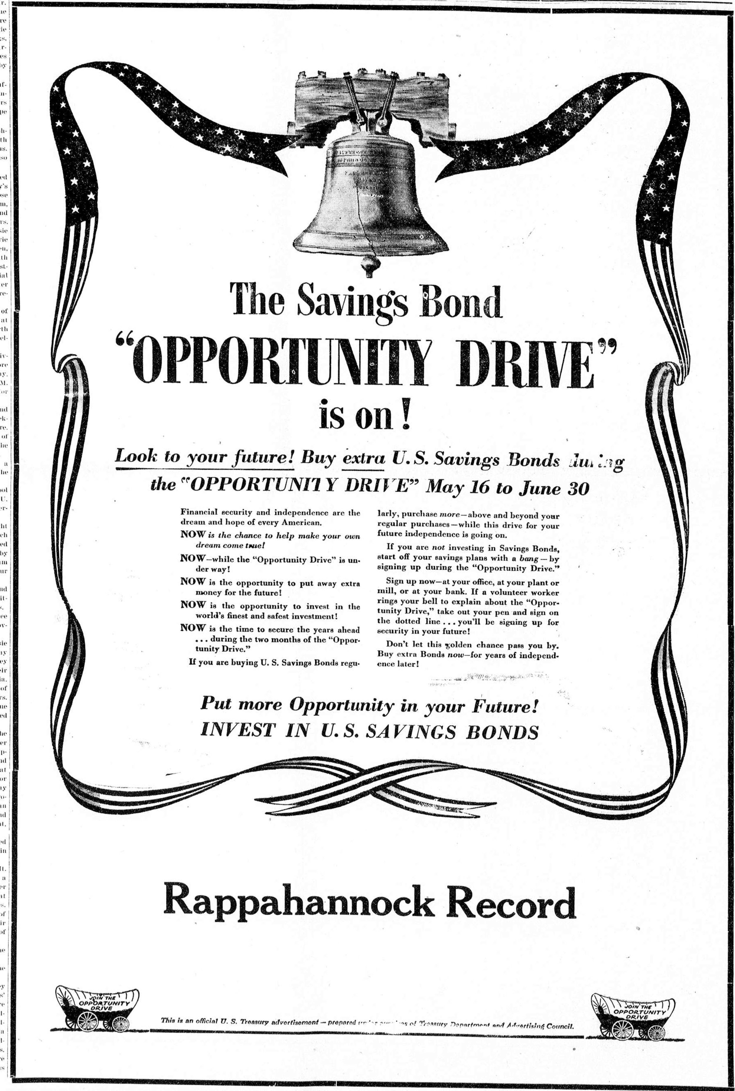 Bond ad from the Rappahannock Record (Virginia)