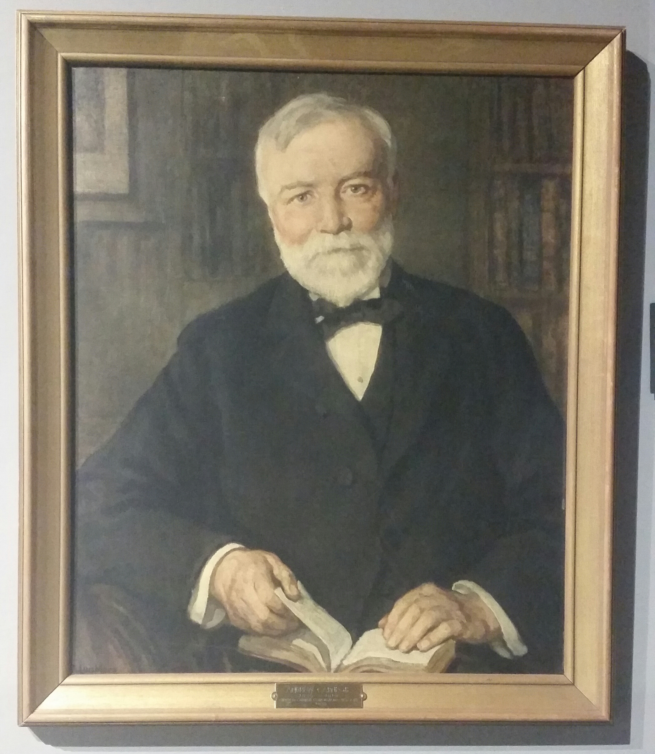 Carnegie portrait that hung in the library. Now in the collection of Frontier Homestead State Park