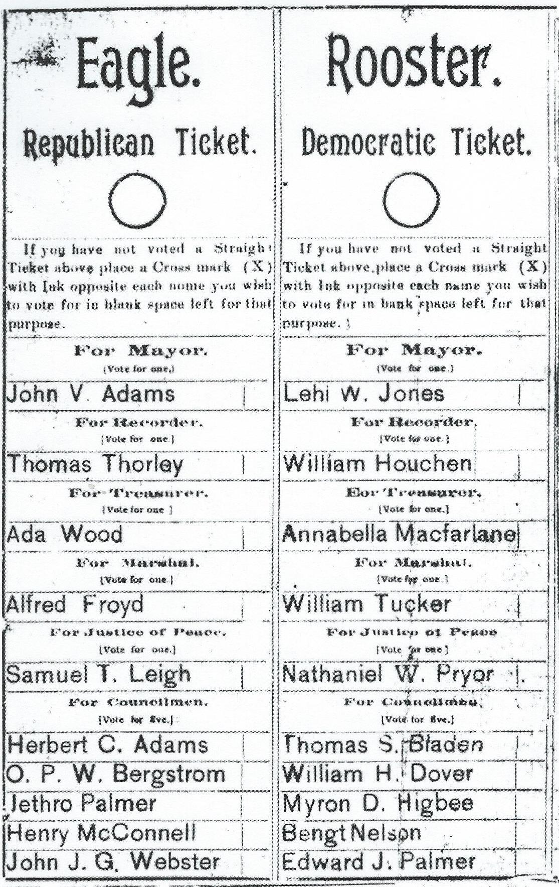 1897 Cedar City Ballot