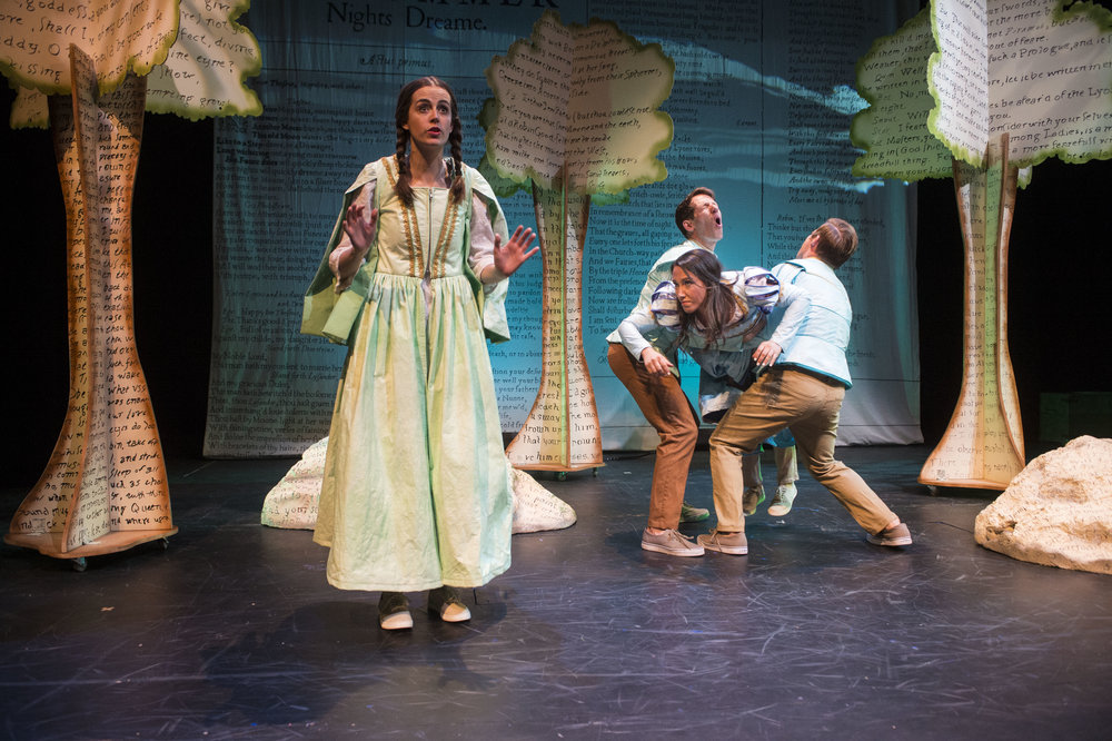 Karen Thorla (left) as Helena, Alexis Baigue as Demetrius, Stefanie Resnick as Hermia, and Brandon Burk as Lysander in the Utah Shakespeare Festival's 2017 Shakespeare-in-the-Schools production of A Midsummer Night's Dream. (Photo by Karl Hugh. Copyright Utah Shakespeare Festival 2017.)