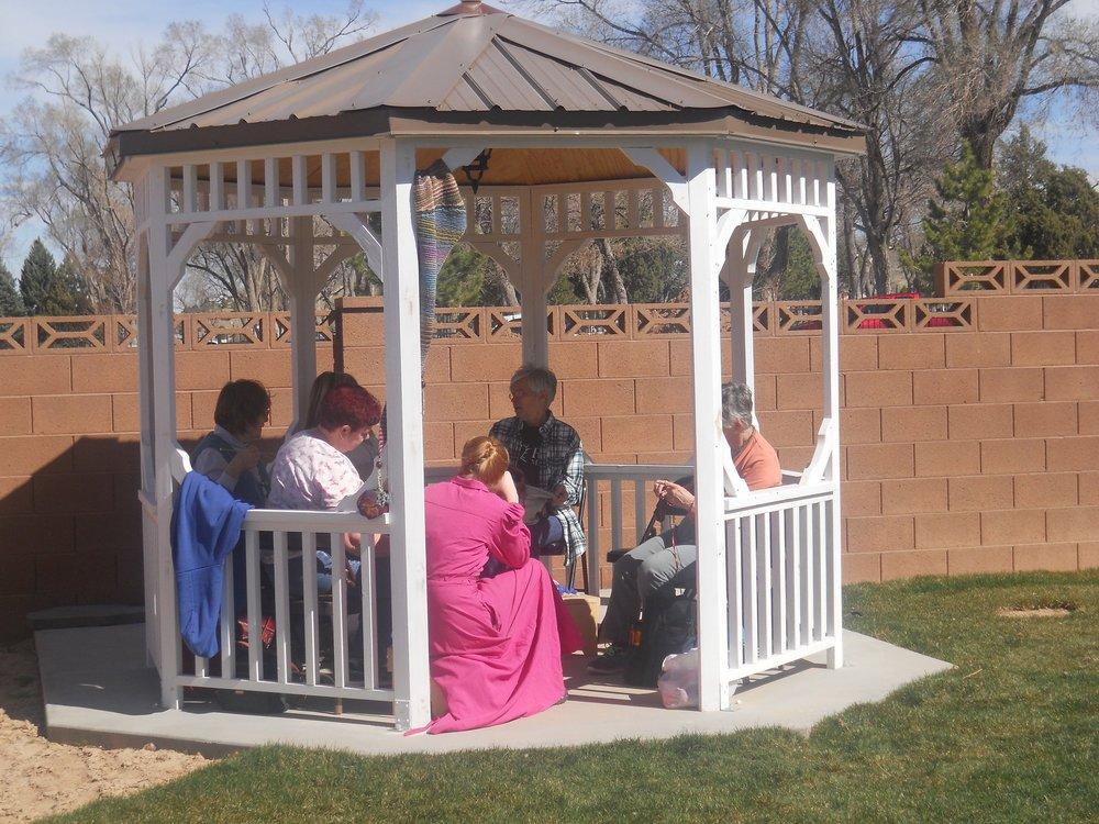 Gathering in the gazebo