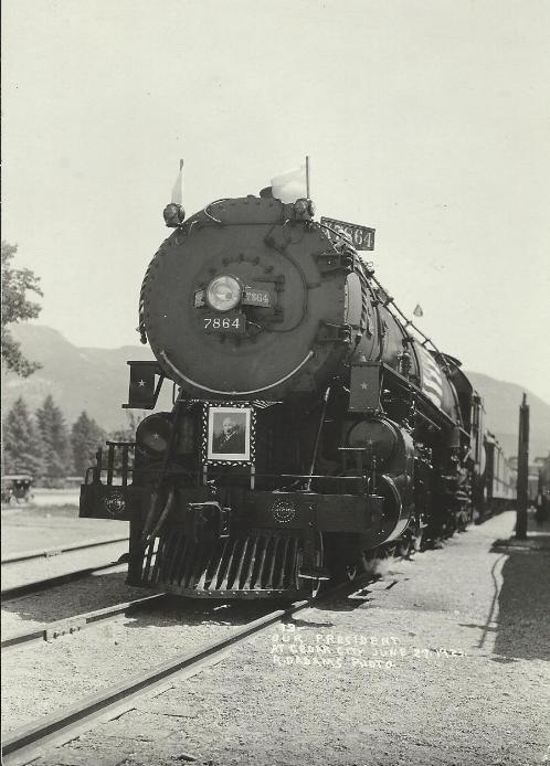 President Harding's train entering Cedar City. June 27, 1923. Photo by R.D. Adams