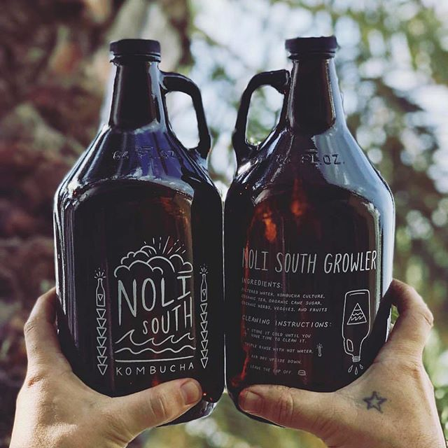 Another, even better shot, from my growler collab with @noli_south kombucha 🌴🤙🏼✨#design #illustration #handlettering #ipadpro #packagingdesign