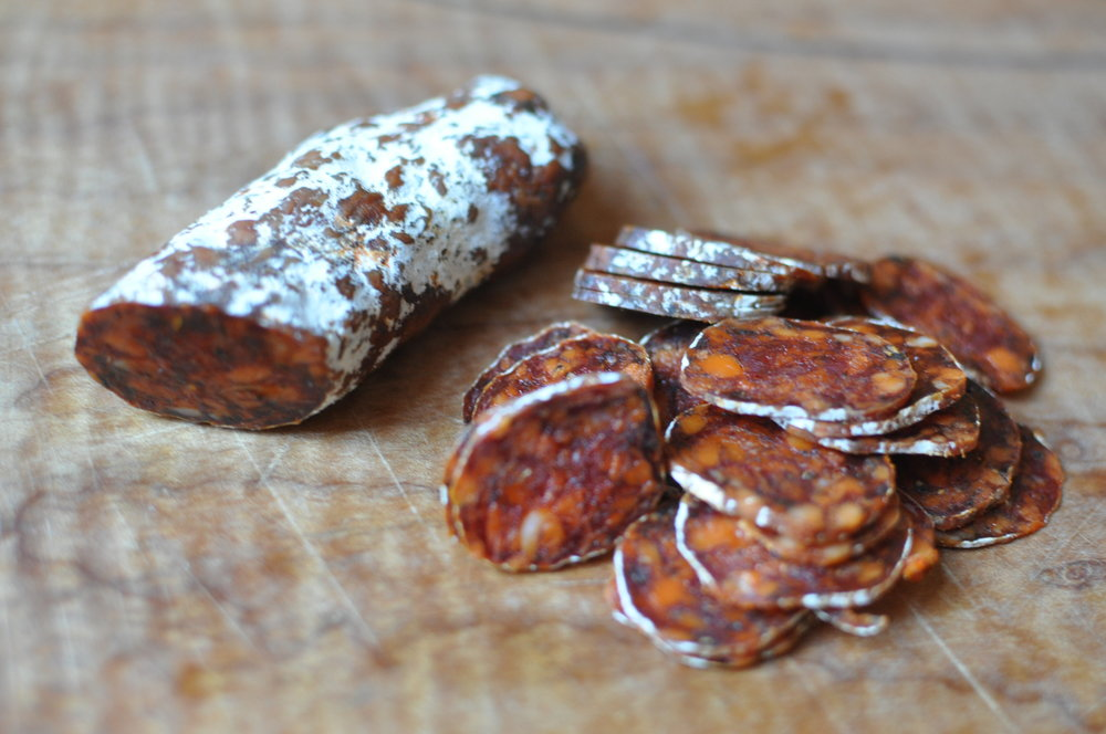 Slices of Clark Fork Charcuterie chorizo.