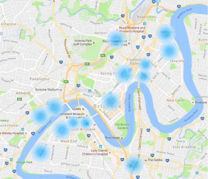 GET PARKED LOCATIONS AROUND BRISBANE